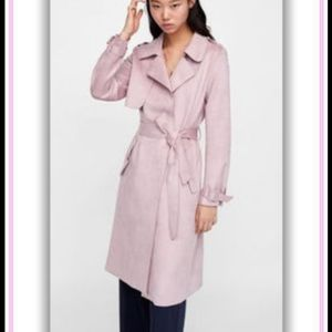Zara faux suede dusty pink belted trench coat